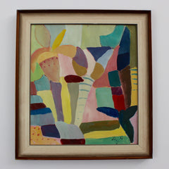 Abstract Oil on Paper by Schniger (1962)