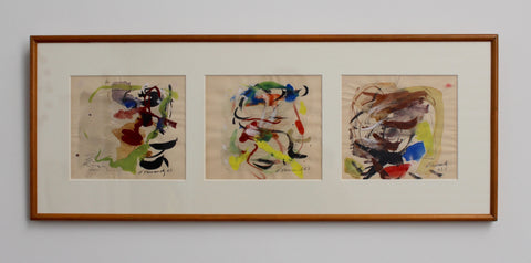 Abstract Triptych by M. Hernandez (1960s)