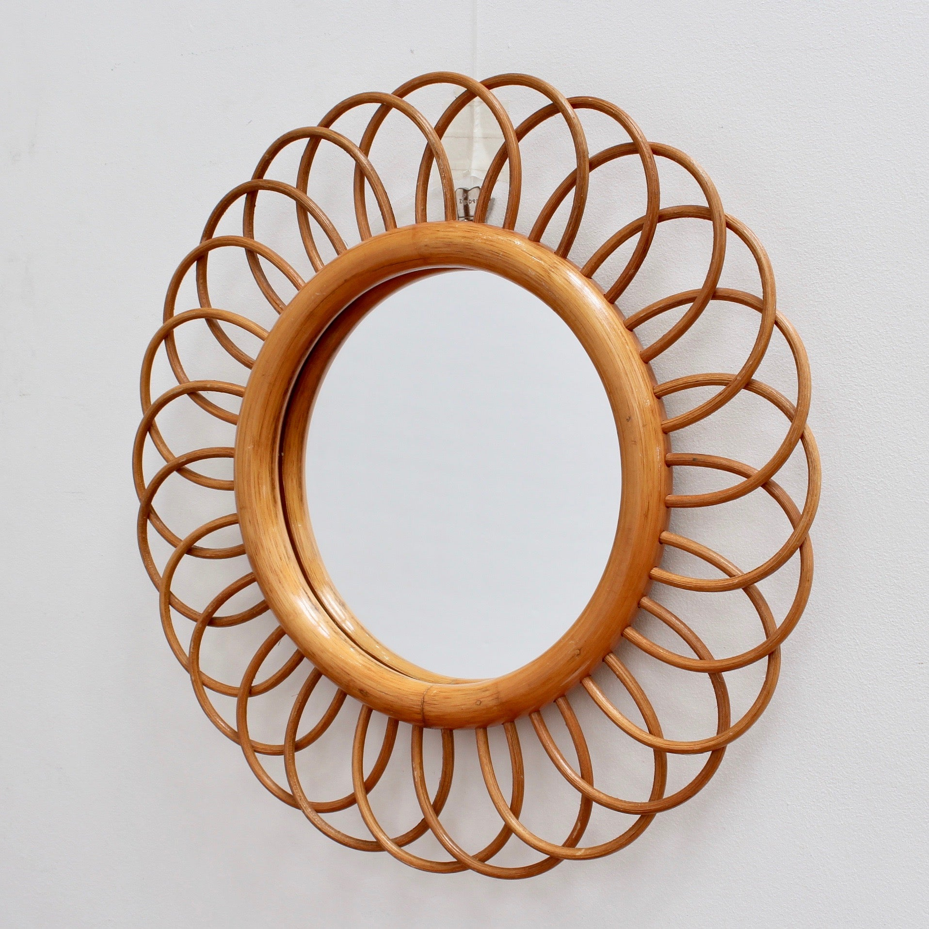 Mid-Century French Rattan Flower-Shaped Wall Mirror (circa 1960s)