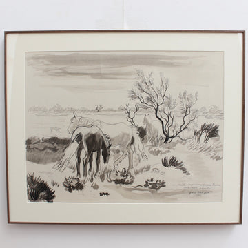 'Horses at the Edge of the Pond' by Yves Brayer (1980)