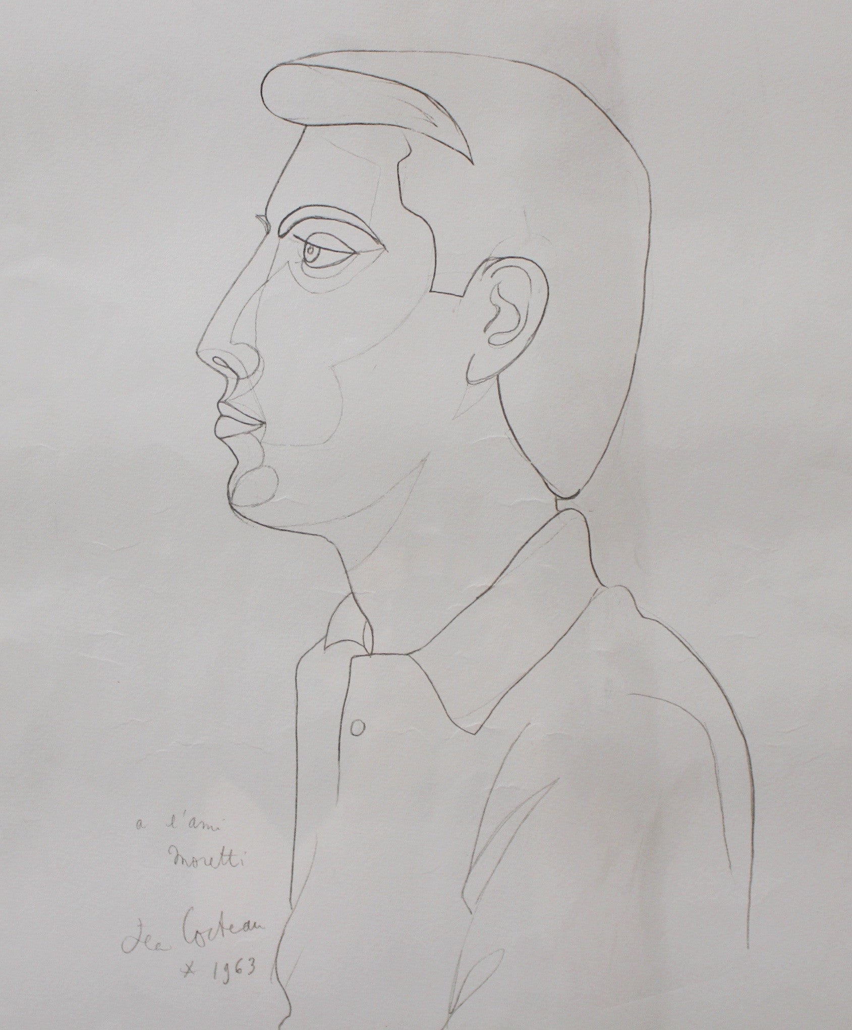 Lithograph of the Portrait of Raymond Moretti by Jean Cocteau (1963)