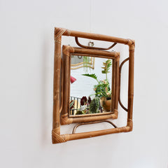 Mid-Century French Indochine-Style Bamboo and Rattan Wall Mirror (circa 1960s)