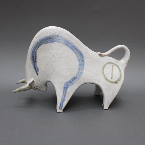 Ceramic White Bull by Bruno Gambone (Circa 1970s)