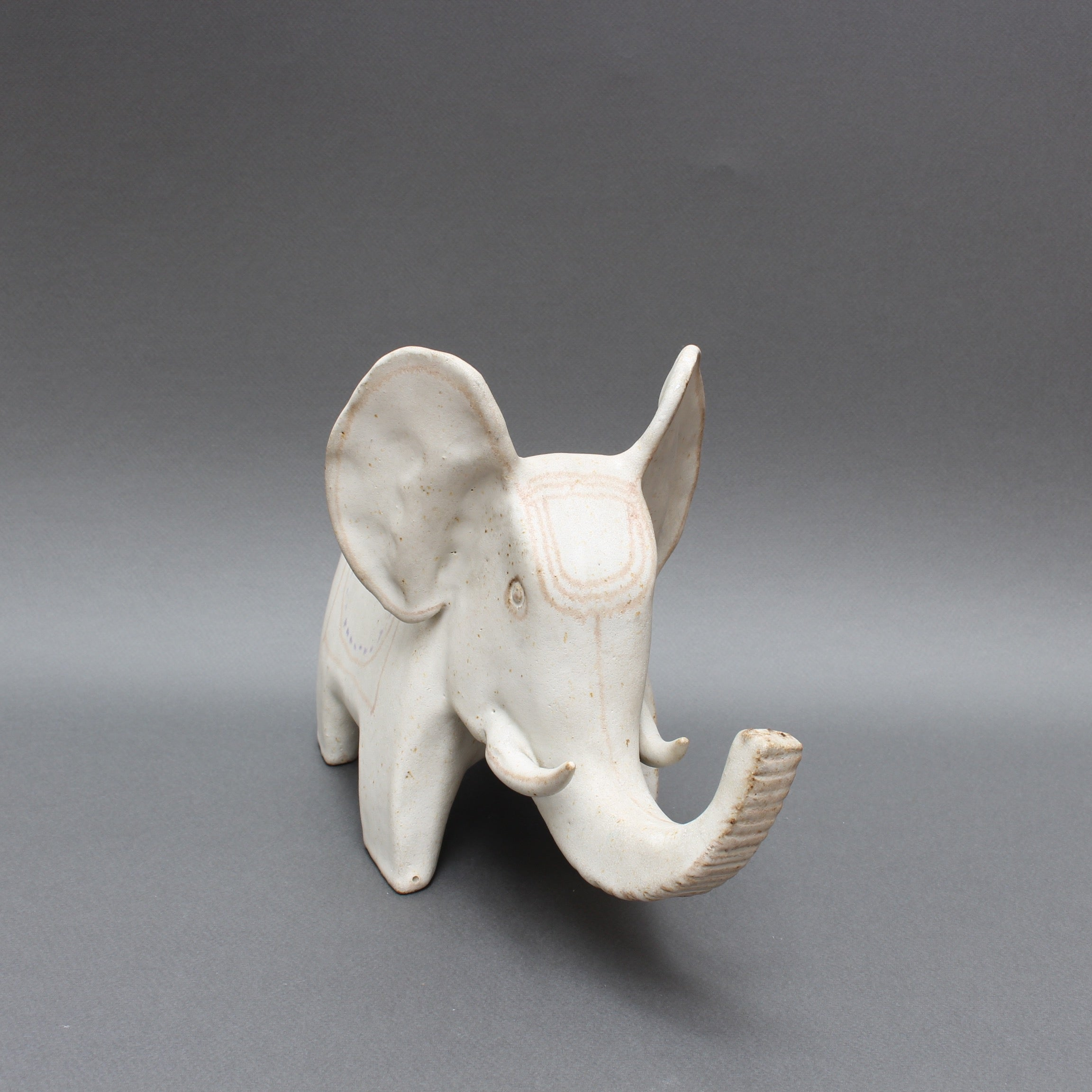 Ceramic White Elephant by Bruno Gambone (Circa 1970s)