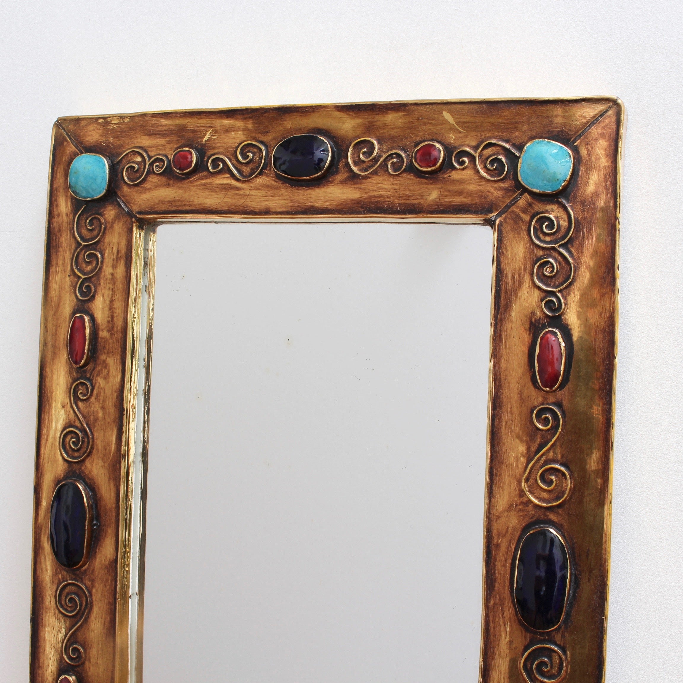 Ceramic Wall Mirror by François Lembo (circa 1960s - 70s) - Large