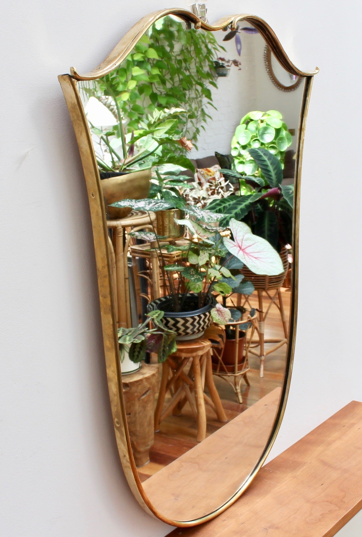 Mid-Century Italian Tulip-Shaped Wall Mirror with Brass Frame (circa 1950s)