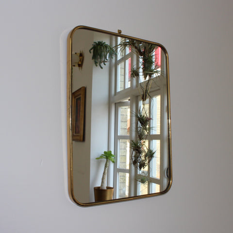Italian Mid-Century Mirror with Brass Frame - Small