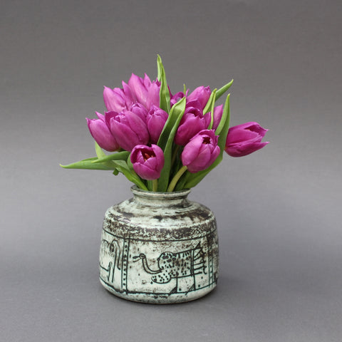 Ceramic Vase with Primitive Animal Motif by Jacques Blin (Circa 1950s)