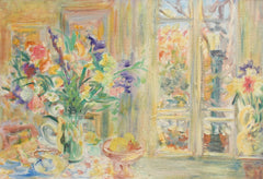 'Still Life with Bouquet and French Door', French School (circa 1970s)