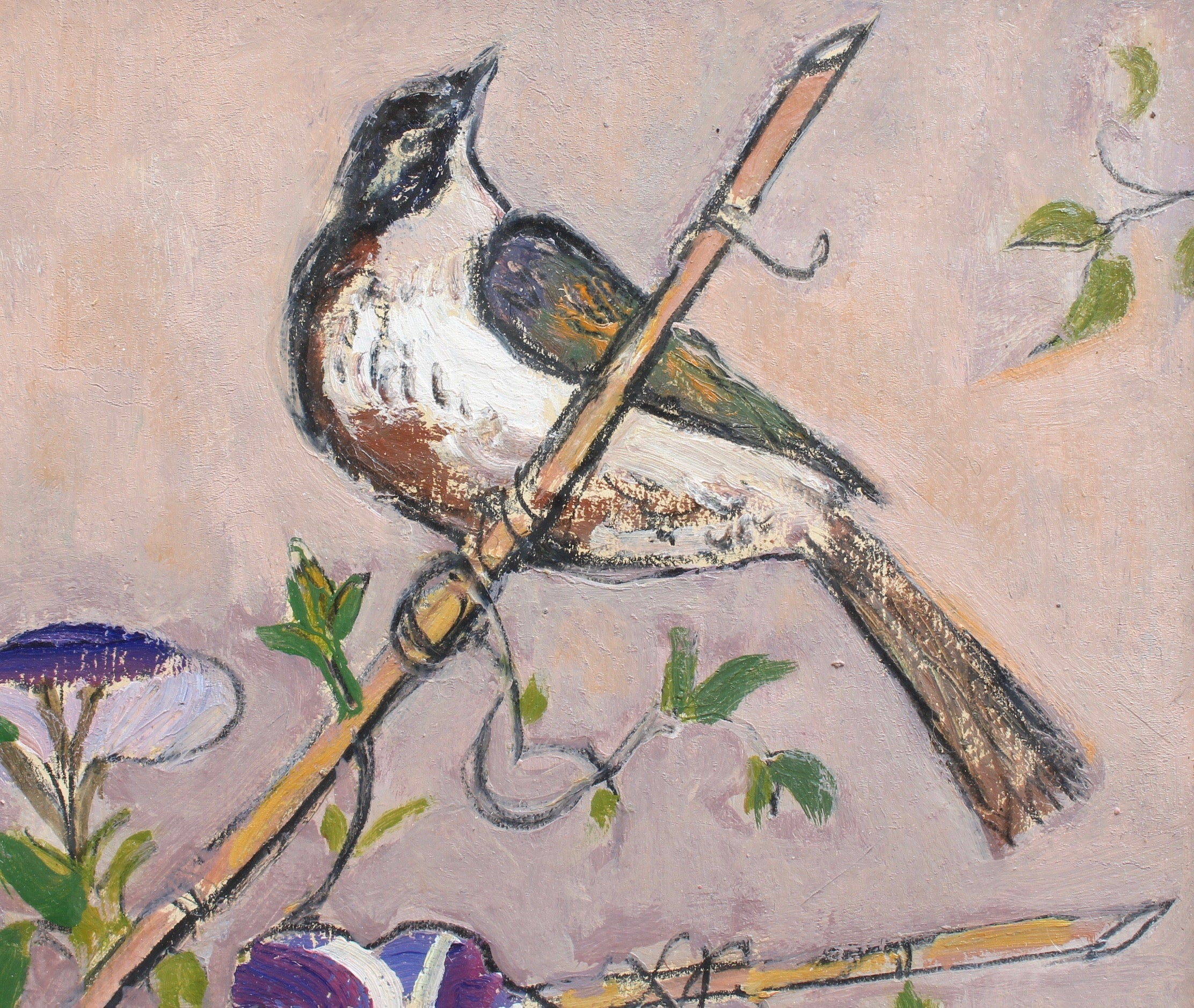 'Bunting on a Bamboo Cane' by David McClure, RSA RSW RGI (circa 1980s - 1990s)