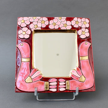 Mid-Century Ceramic Wall Mirror with Flower Motif and Stylised Birds by Mithé Espelt (circa 1960s)