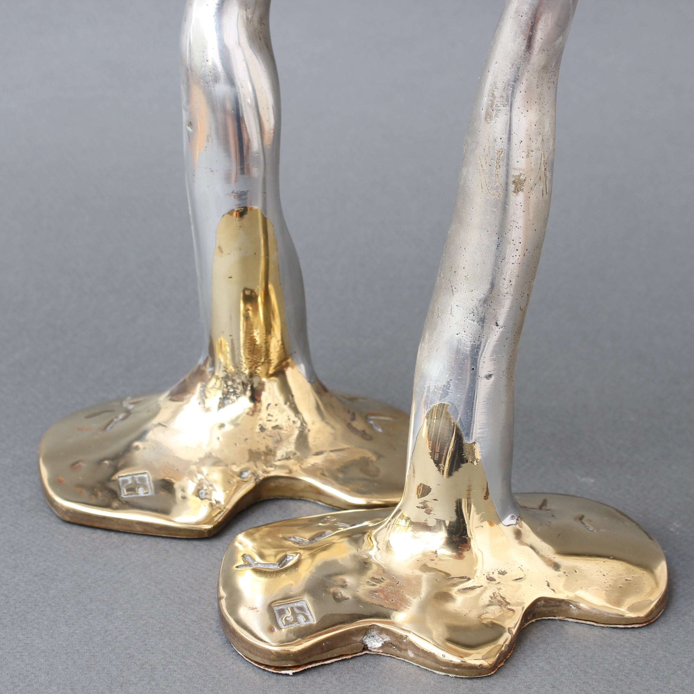 Pair of Aluminium and Brass Candlesticks by David Marshall (circa 1970s)