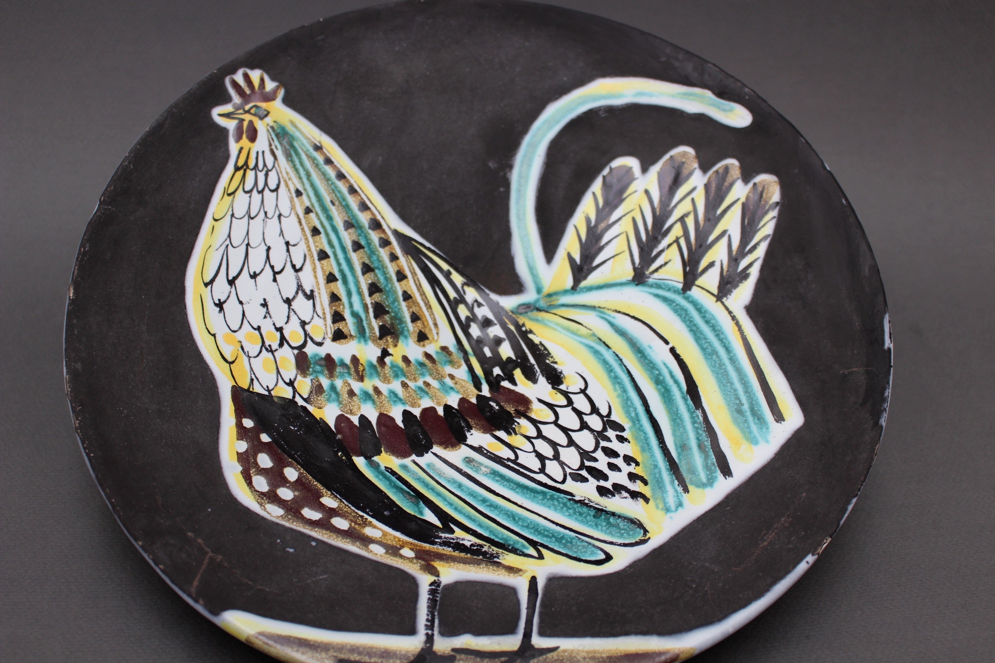 Rare Large Black Ceramic Coq Plate by Roger Capron (1950s)