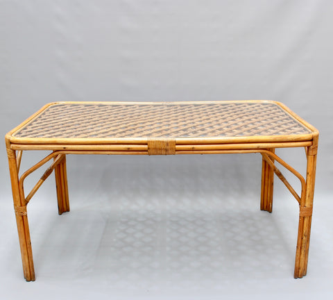 Mid-Century Italian Bamboo and Rattan Table (circa 1960s)