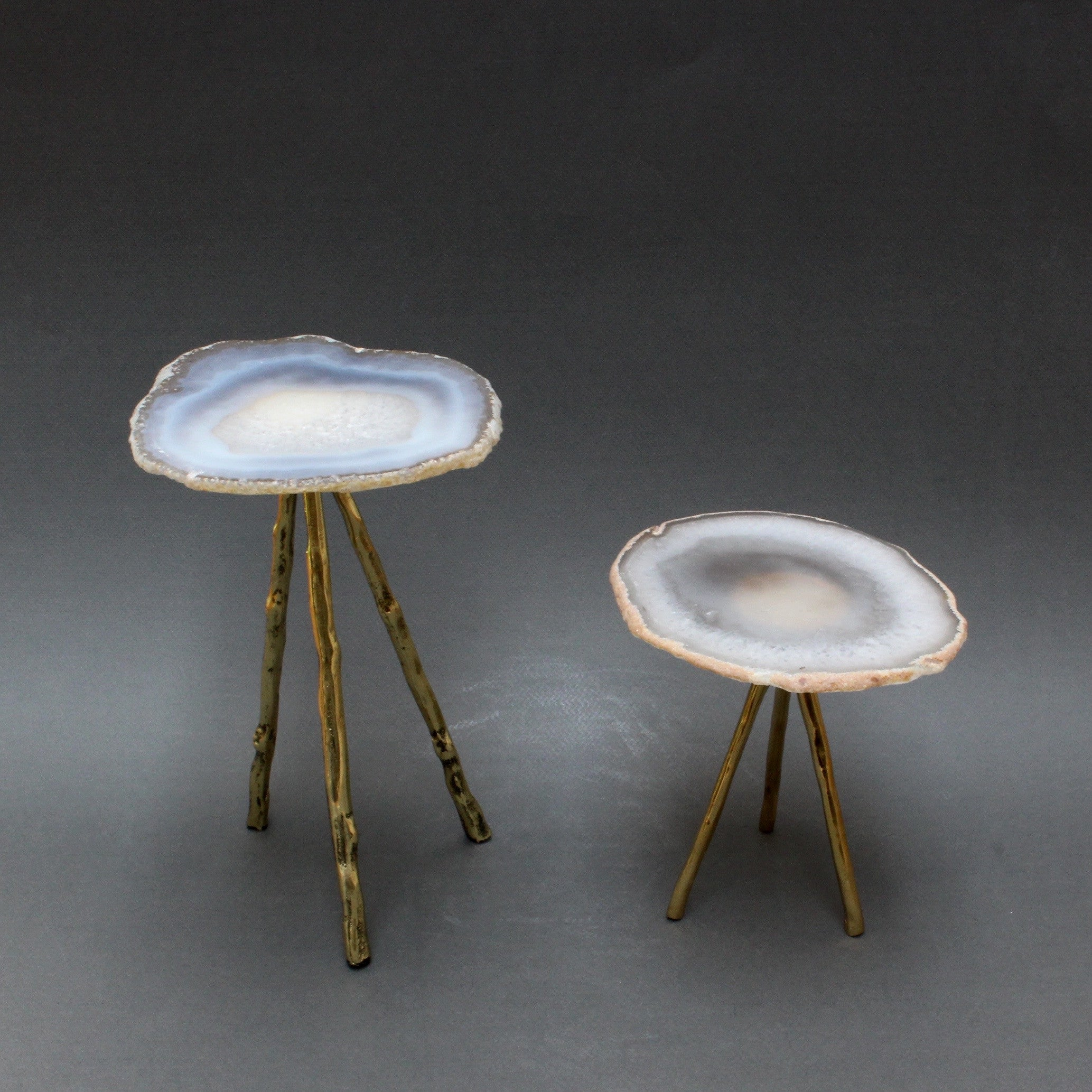 Agate Display and Plant Stand on Brass Legs - Small