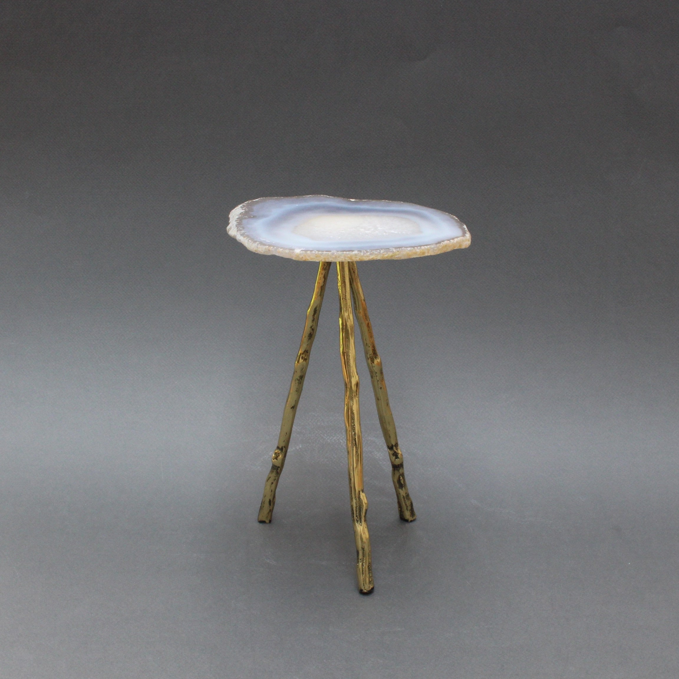 Agate Display Stand on Brass Legs - Large