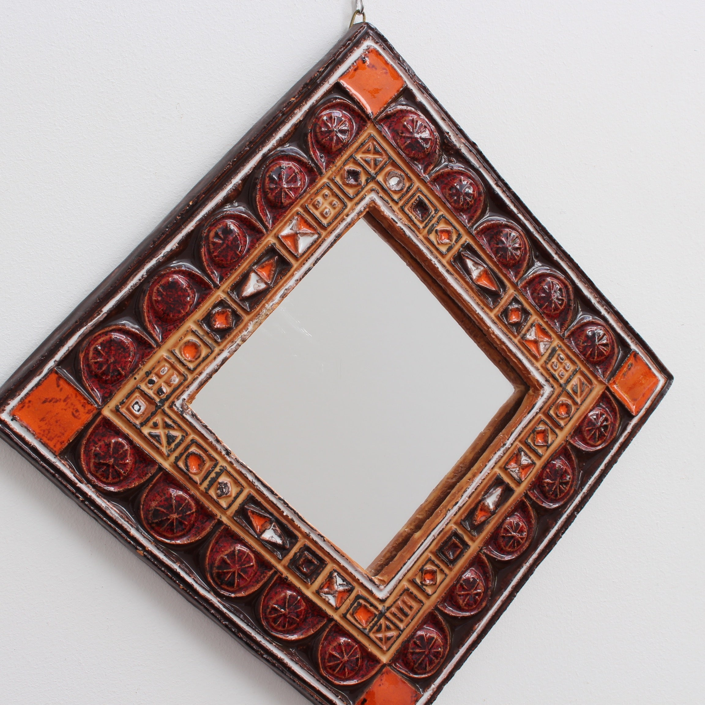 Mid-Century French Ceramic Decorative Mirror (Circa 1960s - 1970s)