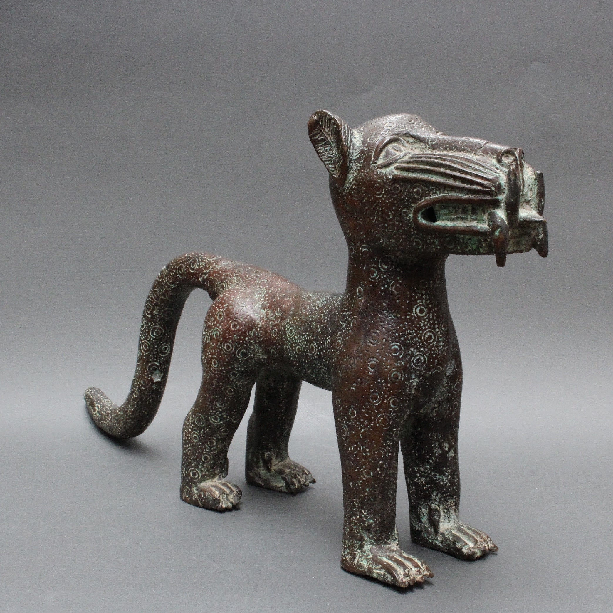 20th C. Hand-Sculpted Benin Leopard