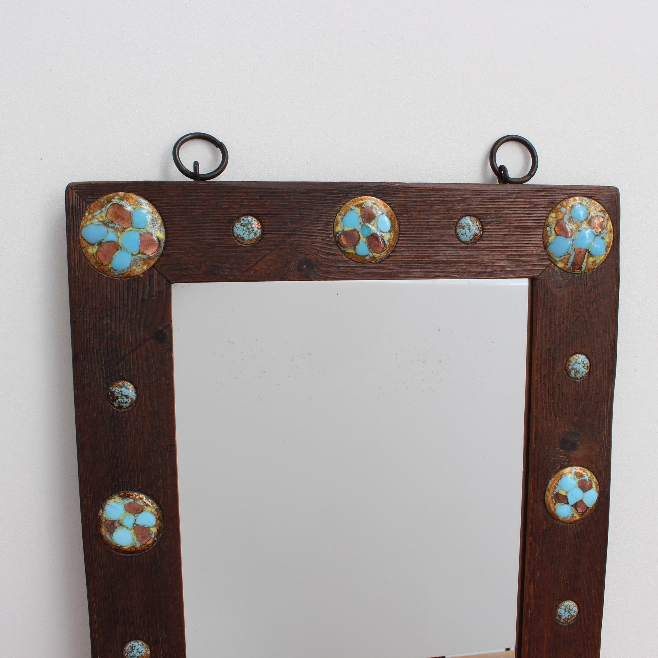 Wooden Mirror with Enamel Copper Decoration by Capo Esmaltes (Circa 1960s)