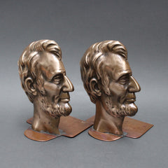Vintage Abe Lincoln Bronze Book Ends (c. 1960s)