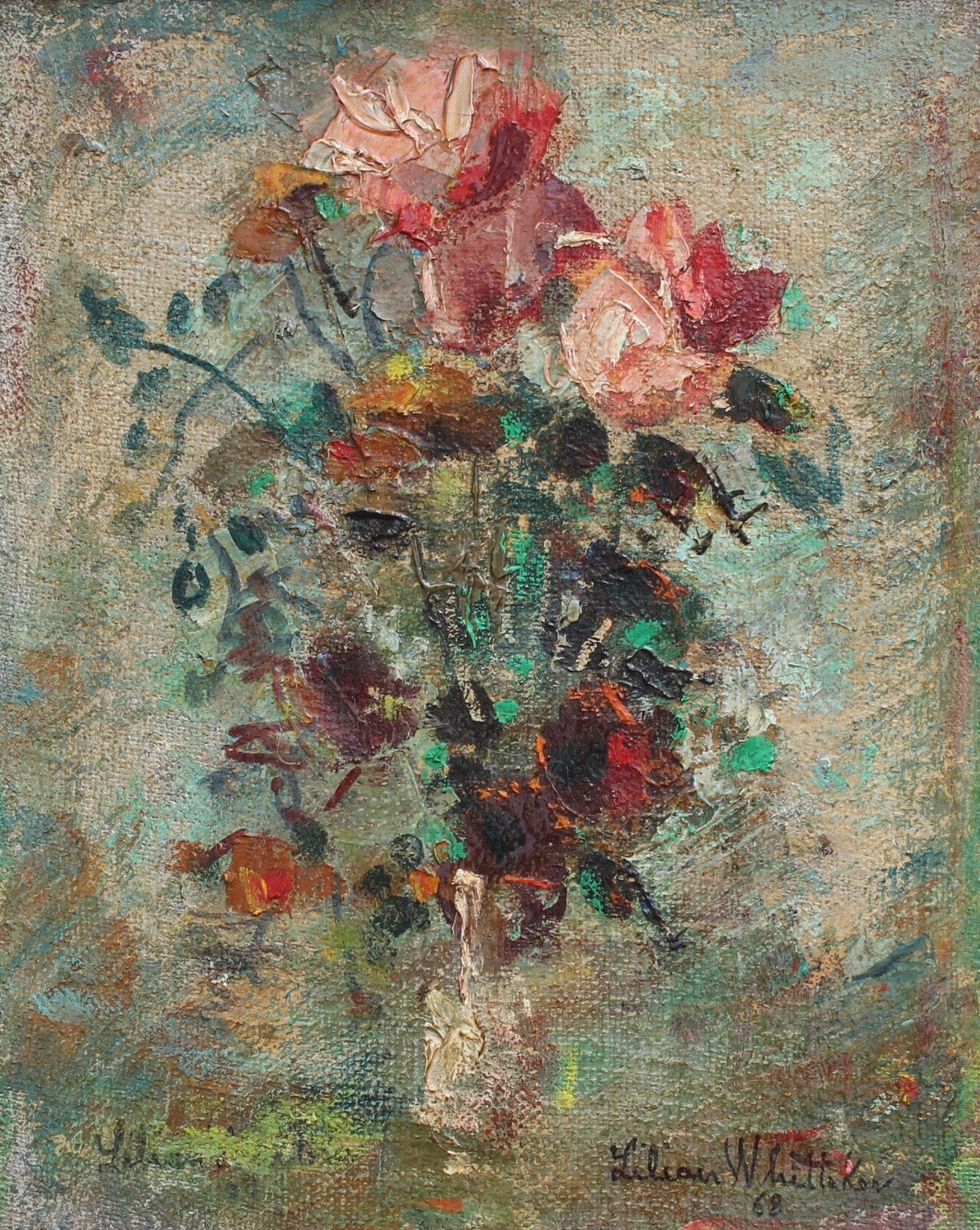 'Flower Arrangement in Vase' by Lilian E. Whitteker (1968)