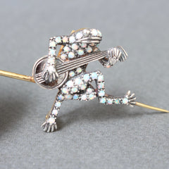 Antique Opal and Diamond Frog Brooch by M. Beal Goldsmiths Sheffield, England (19th C)