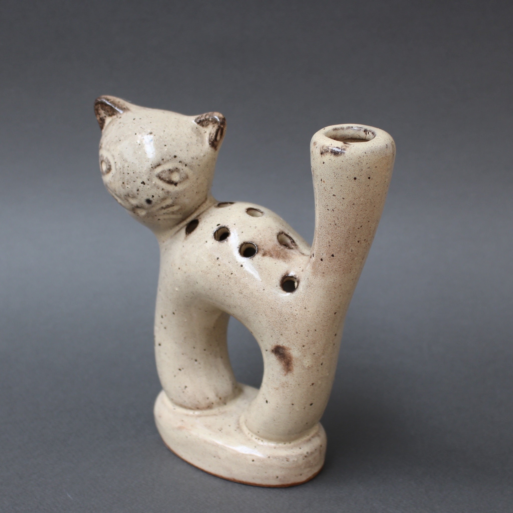 Stylised Ceramic Cat Vase by Les Grottes Dieulefit (circa 1960s)