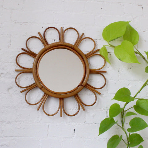 Mid-Century French Bamboo and Rattan Sunflower Mirror (c. 1960s)