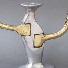 Aluminium and Brass Brutalist Style Candleholder by David Marshall (Circa 1970s)