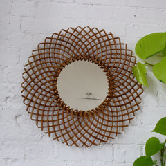 Mid-Century French Rattan Mirror by Art Vannerie RR (c. 1960s)