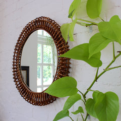 Mid-Century Rattan Italian Mirror in the Style of Franco Albini (c. 1950s)