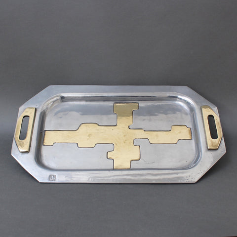 Aluminium and Brass Brutalist Style Tray by David Marshall (Circa 1970s)