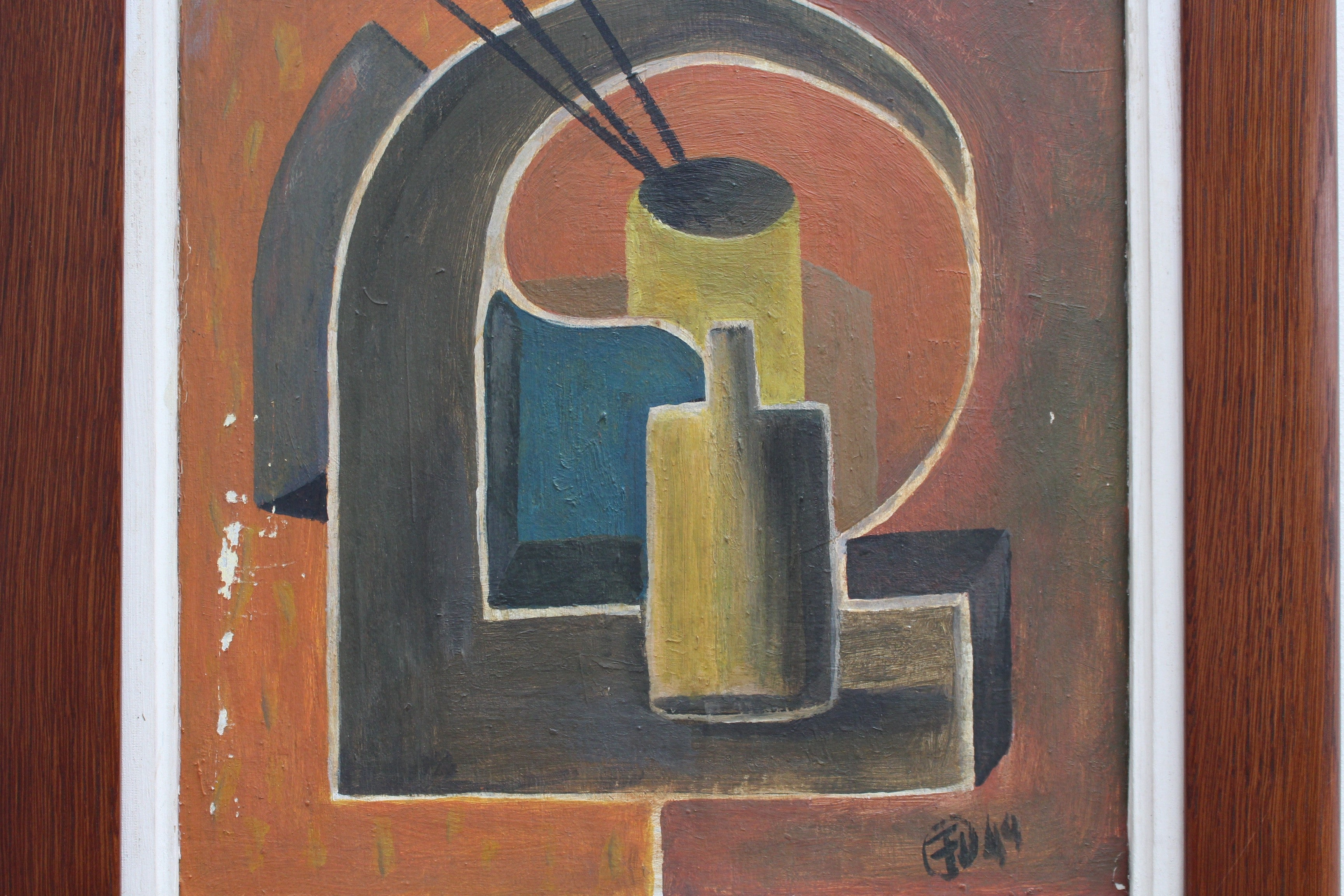 'Artist's Brushes and Bottle' by Unknown Artist with Initials F.U. (1949)