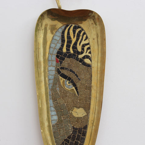 Brass Tray with Mosaic of a Stylised Beauty by Salvador Terán (circa 1950s)