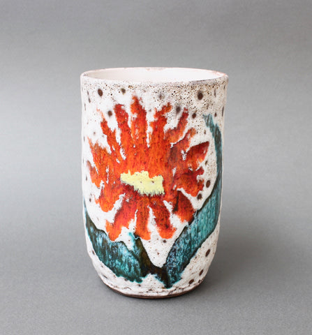 Ceramic Vase with Flower Motif from Vallauris, France (circa 1950s)