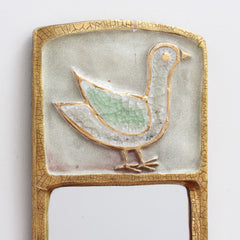 Ceramic Wall Mirror with Gold Crackle Glaze and Stylised Bird by François Lembo (circa 1960s)
