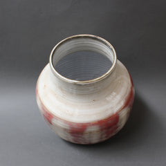 Red and White Glazed Ceramic Vase by Jacques Pouchain (c. 1960s)