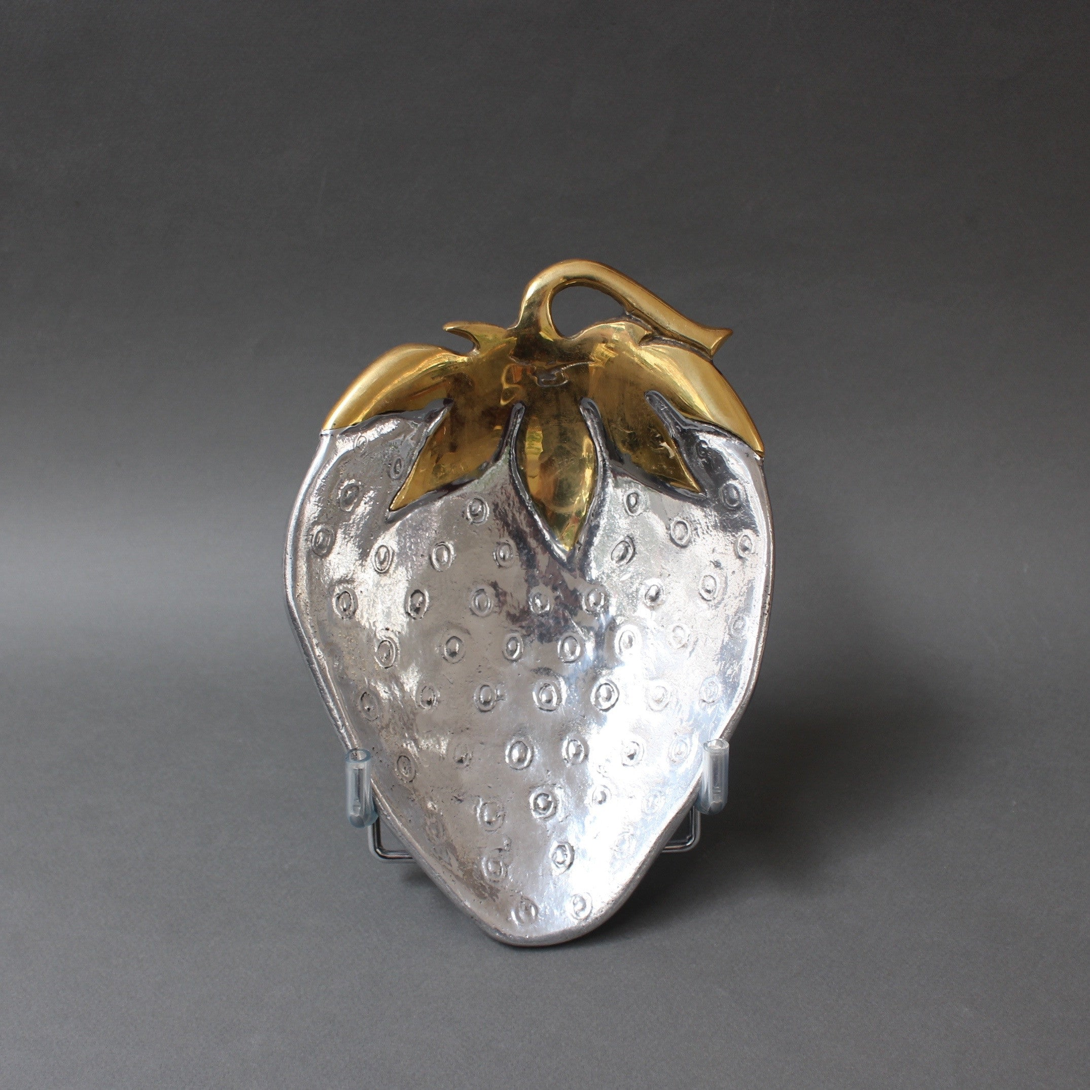 Decorative Aluminium and Brass Strawberry-Shaped Tray in the Style of David Marshall (c. 1970s)