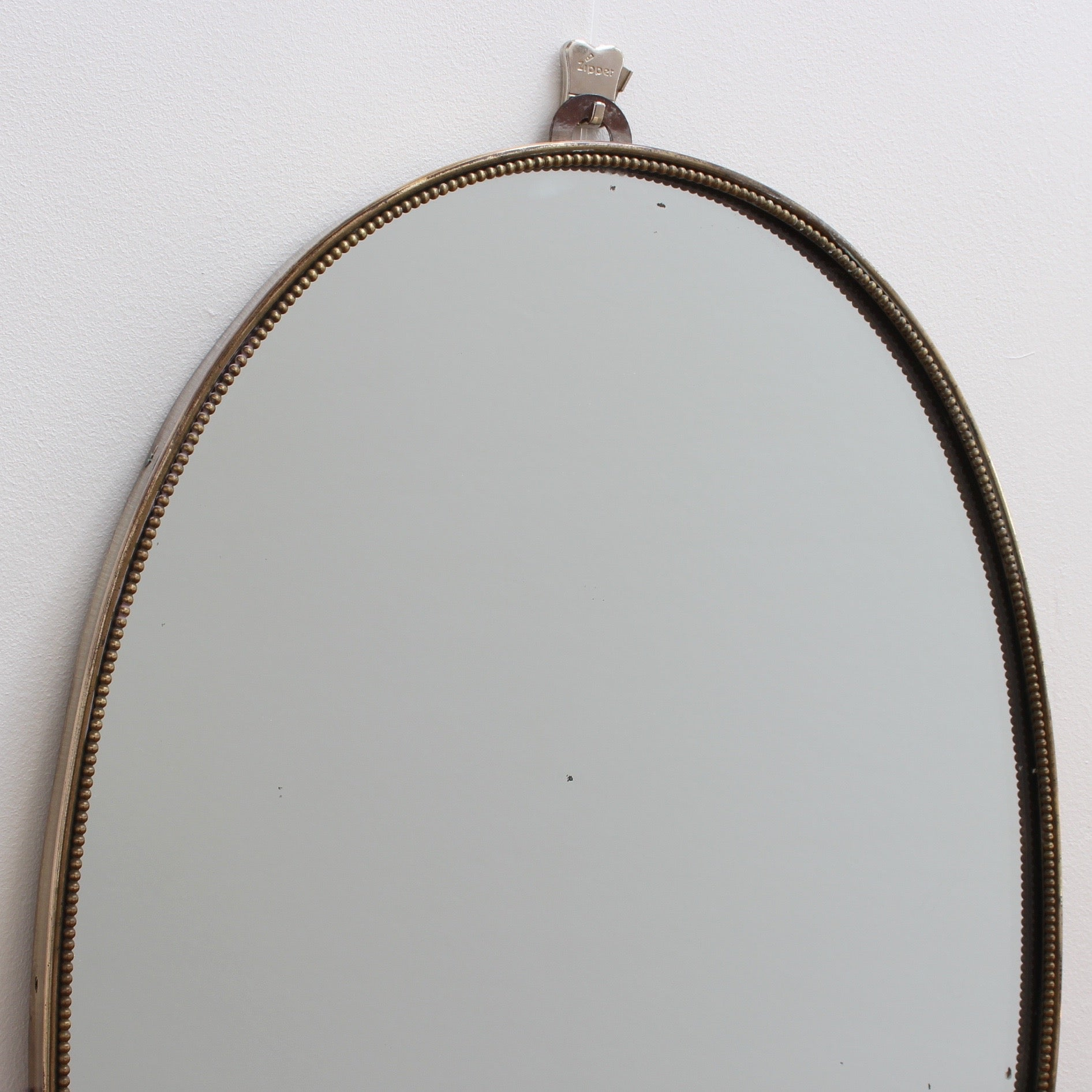 Mid-Century Italian Oblong Wall Mirror with Brass Frame (Circa 1950s)