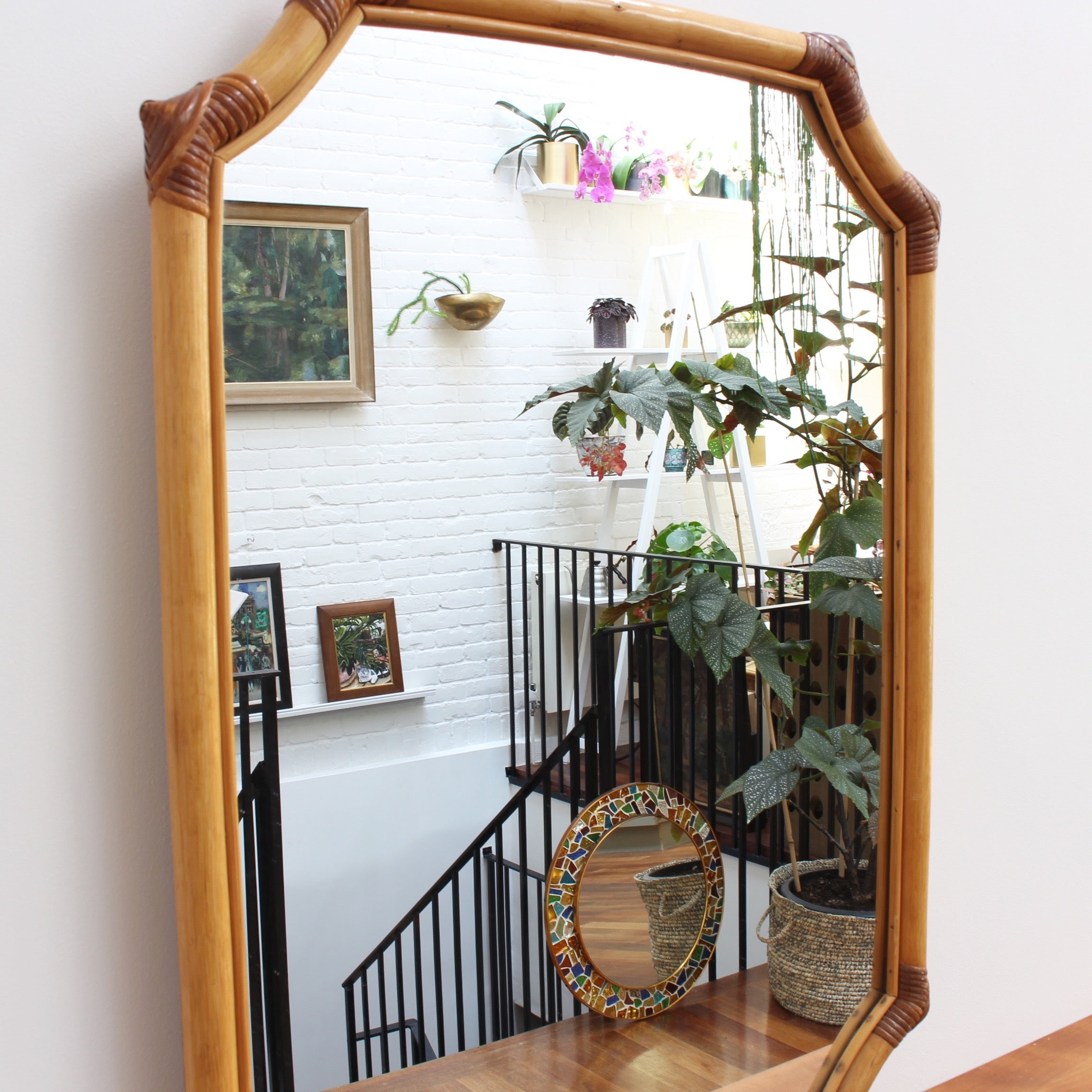 French Bamboo and Rattan Wall Mirror (circa 1960s)