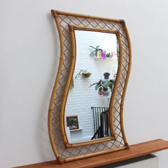 French Bamboo and Rattan Mirror (circa 1950s)