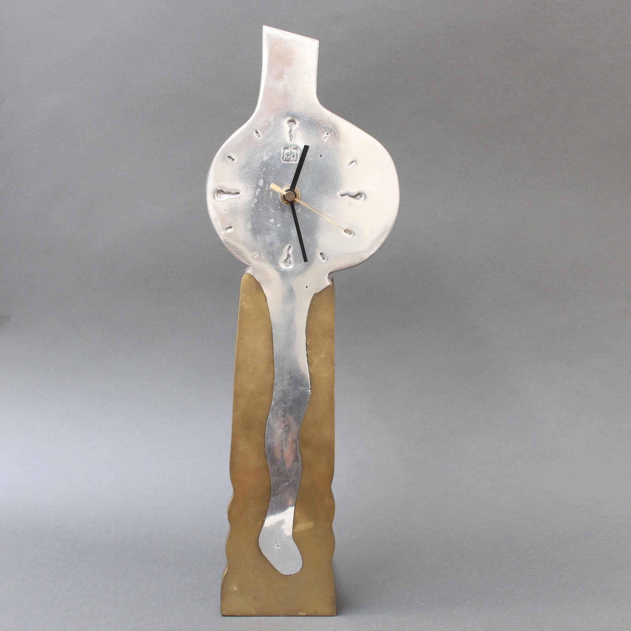 Aluminium and Brass Brutalist Style Decorative Clock by David Marshall (circa 1980s)