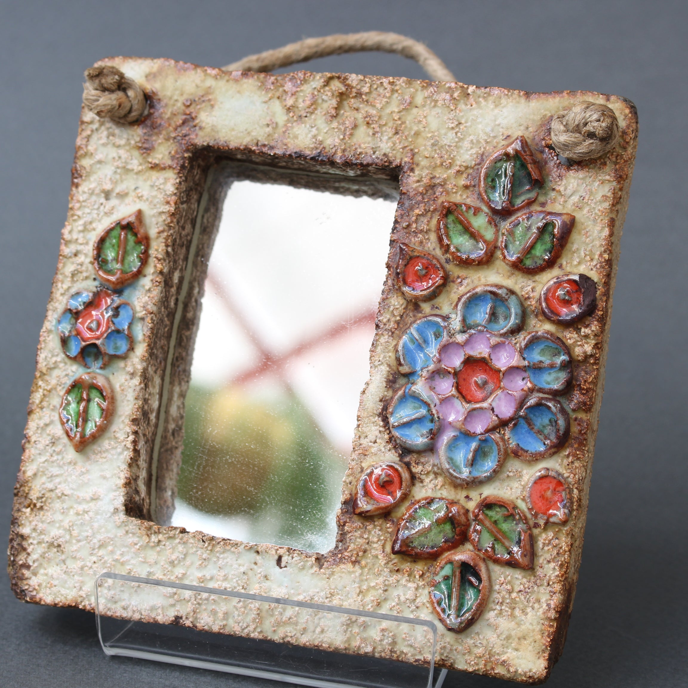 French Ceramic Wall Mirror with Flower Motif by La Roue (circa 1960s) - Small