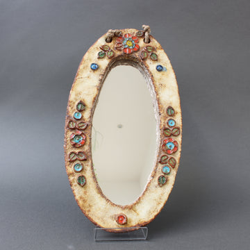 Ceramic Oval Wall Mirror with Floral Enamel Decoration by Atelier La Roue (circa 1960s)