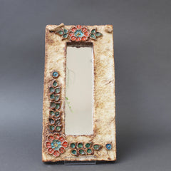 Mid-Century French Ceramic Wall Mirror with Flower Motif by La Roue (circa 1960s)