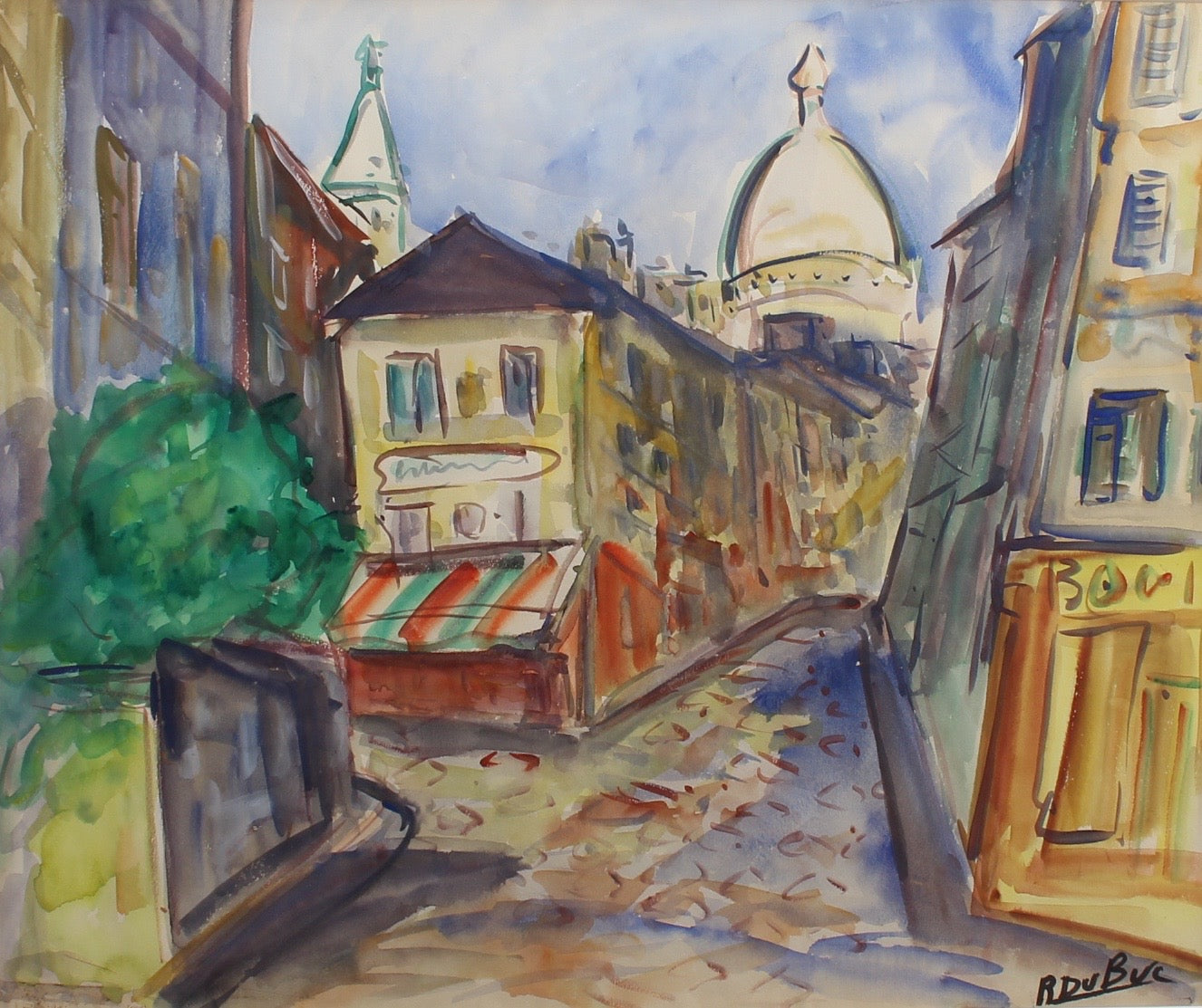 'Montmartre View from Rue Lepic' by Roland DuBuc (circa 1970s)