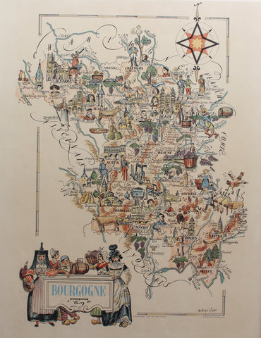 Original Vintage Burgundy Map Poster by Jacques Liozu (1951)