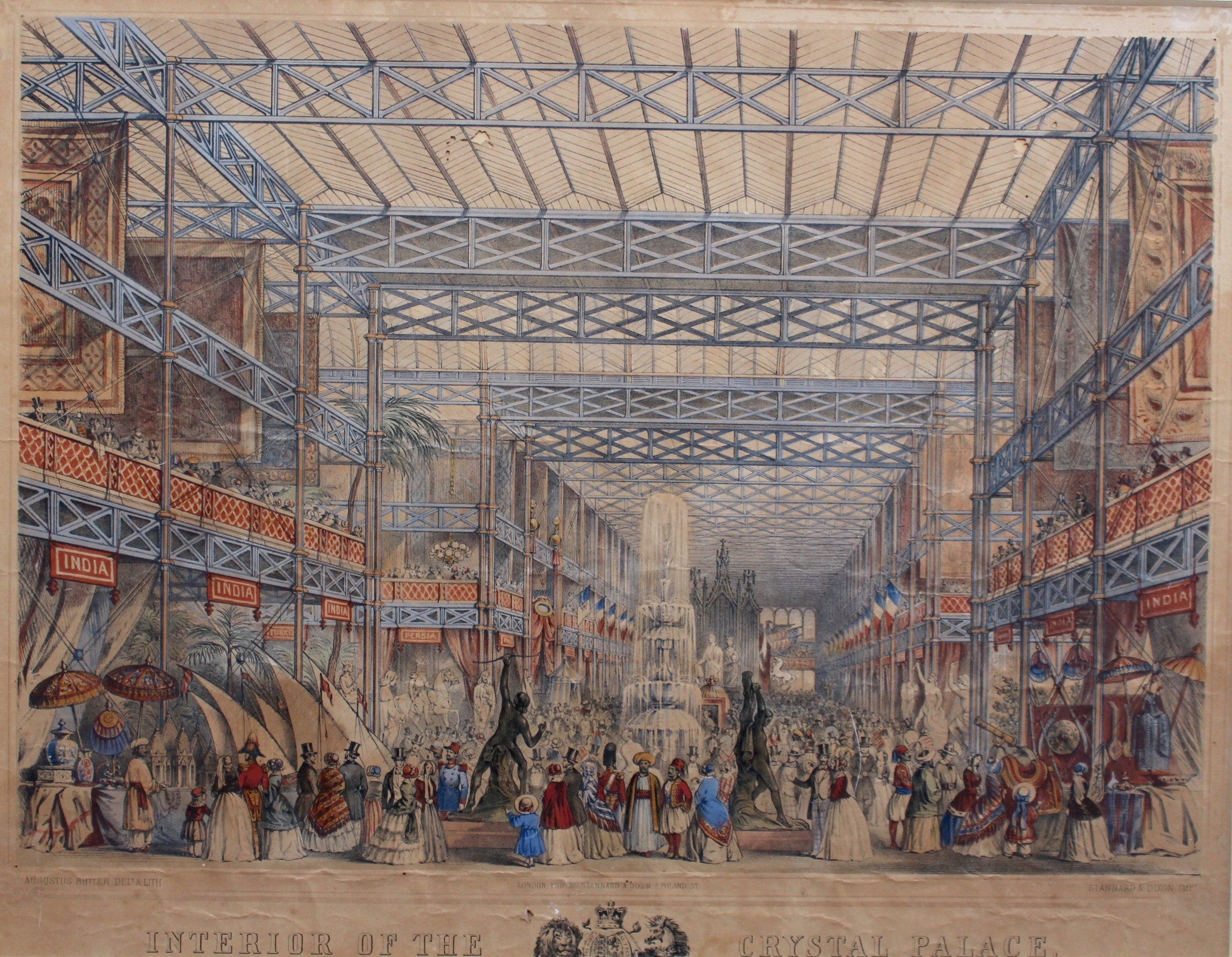 'Interior of The Crystal Palace' Original Hand-Coloured Lithograph by Augustus Butler (1855)