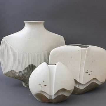 Set of Three French Porcelain Vases with Landscape Motif by Yves Mohy for Virebent (circa 1970s)