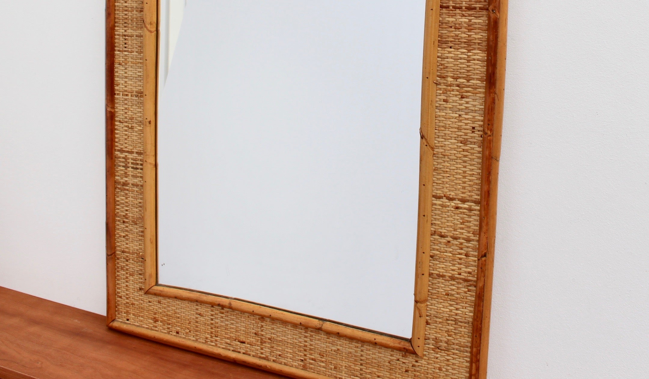 Mid-Century Italian Wicker and Rattan Wall Mirror (circa 1960s)